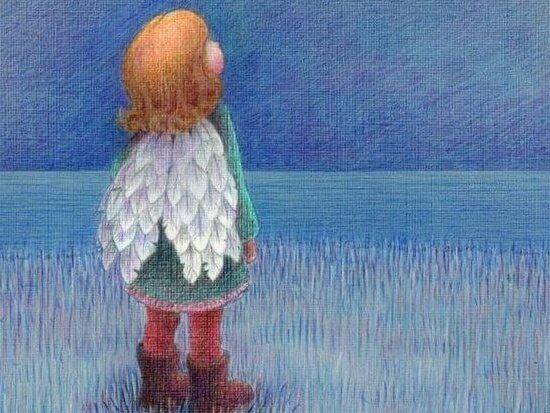 tyttö ja enkelinsiivet