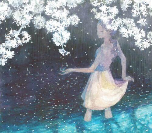 tyttö ja kukkiva puu