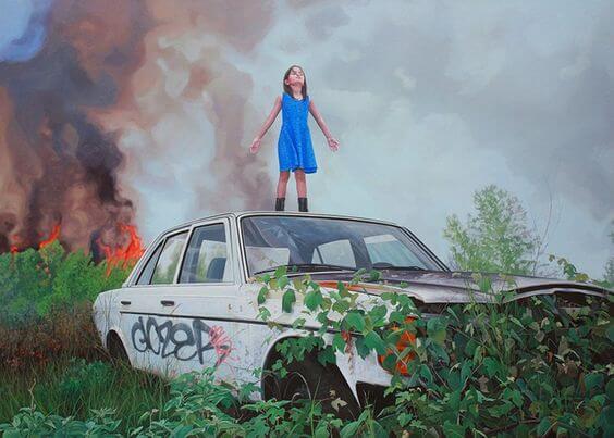 tyttö ja tulipalo