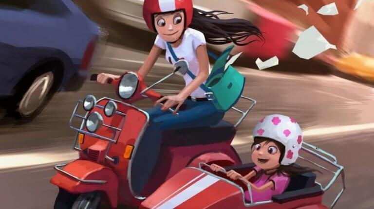 äiti ja tytär moottoripyörässä