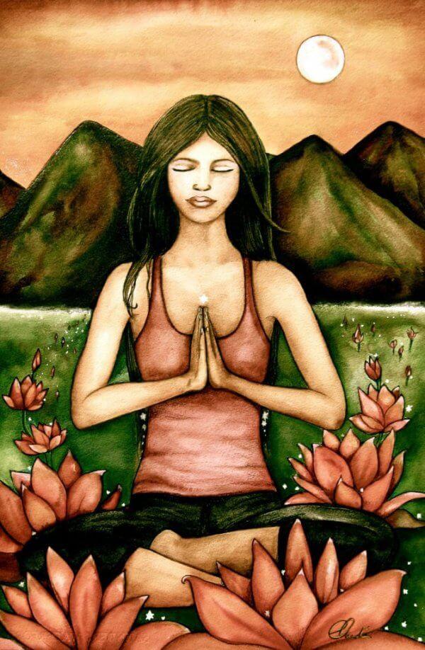 meditaatio ja lootus-kukat