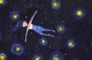 tyttö tähtitaivaalla