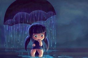 tyttö sateenvarjon alla