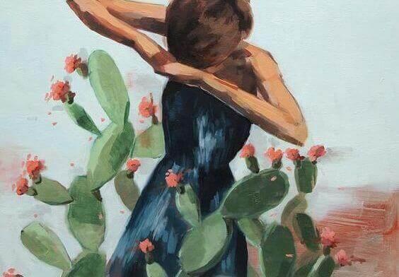 nainen ja kaktus