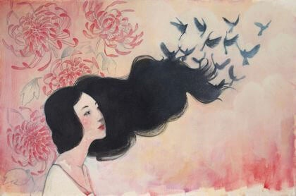 hiuksista lintuja