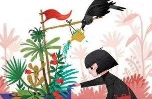 tyttö ja kasvit