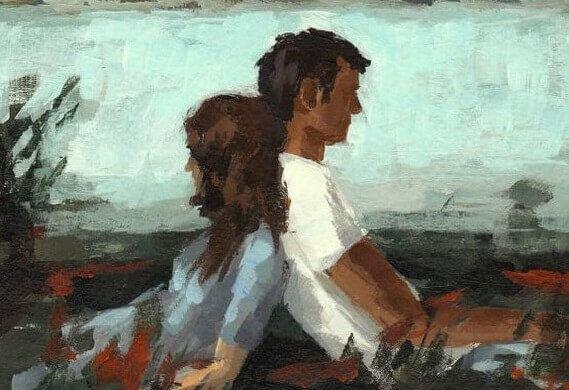 mies ja nainen nojaavat toisiinsa