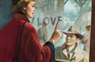 nainen kirjoittaa ikkunaan