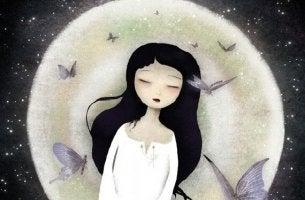 tyttö ja kuu ja perhoset