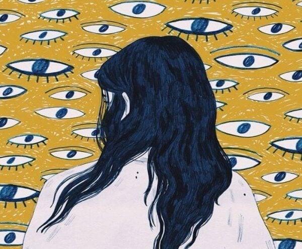 nainen ja silmätapetti