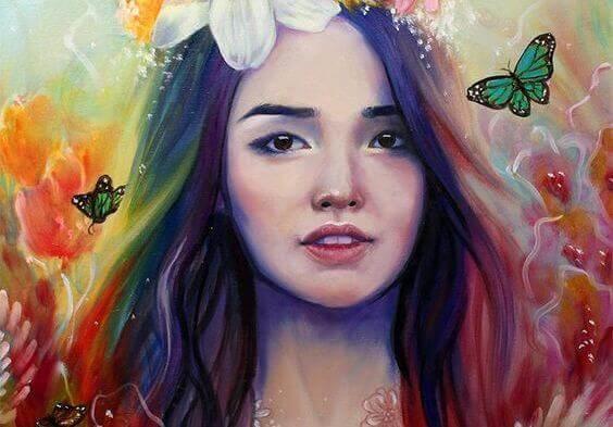 tyttö ja perhoset