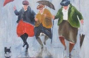 vanhat naiset tanssivat sateessa