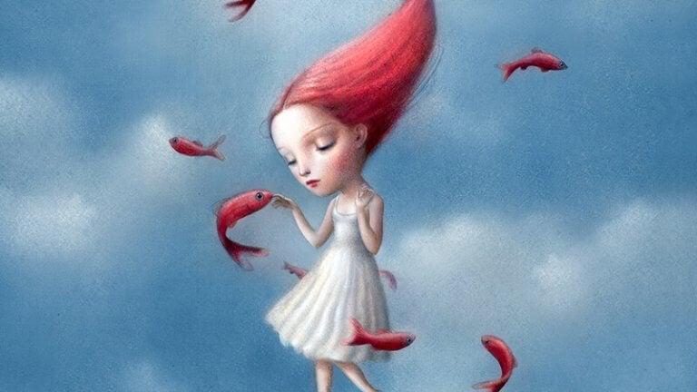tyttö ja kalat taivaalla
