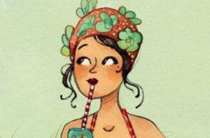 tyttö rannalla juomassa limua