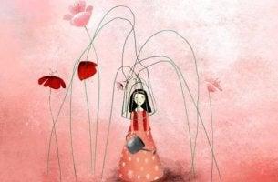 tyttö kukkahäkin sisällä