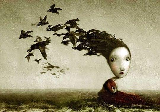 naisen hiukset ovatkin lintuja