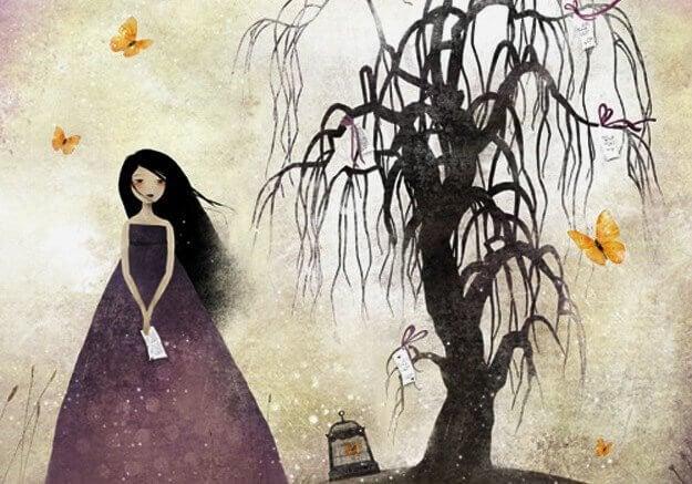 tyttö kuolleen puun vieressä