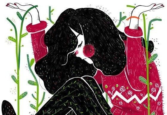 nainen ja kasvit