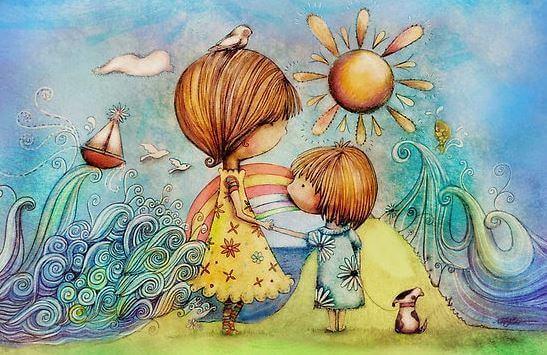 äiti ja lapsi ja meri