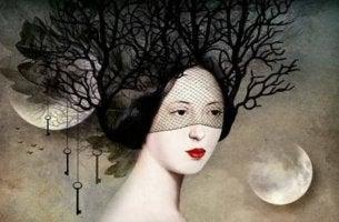 naisen pää on puu