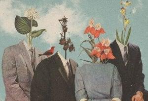 kukkia ja kasveja päiden tilalla