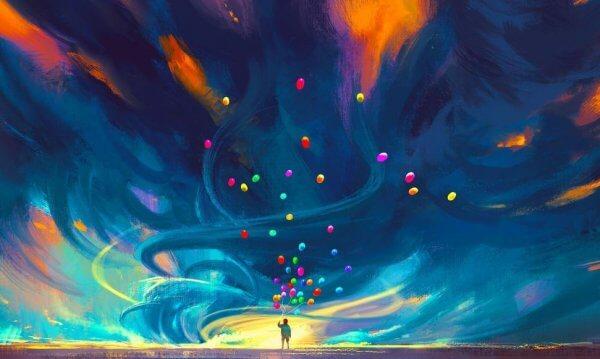 värikäs taivas ja ilmapallot