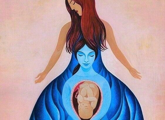 nainen synnyttää äidin ja vauvan
