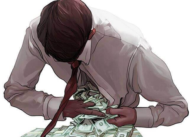 mies kaivaa rahaa paitansa alta