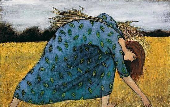 nainen kerää viljaa