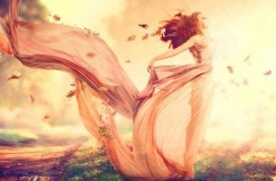 naisen mekko lentää tuulen mukana