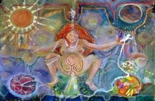 värikäs maalaus synnytyksestä
