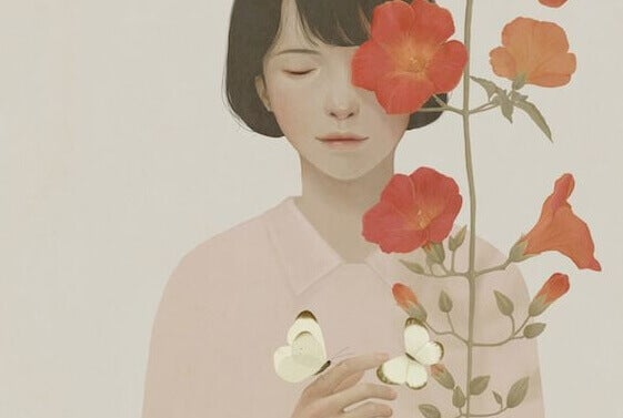 tyttö perhoset ja kukat
