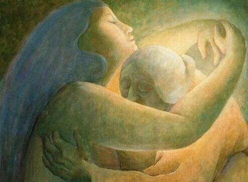 nuori nainen ja vanha nainen halaavat