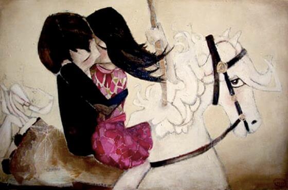 suudelma hevosen selässä