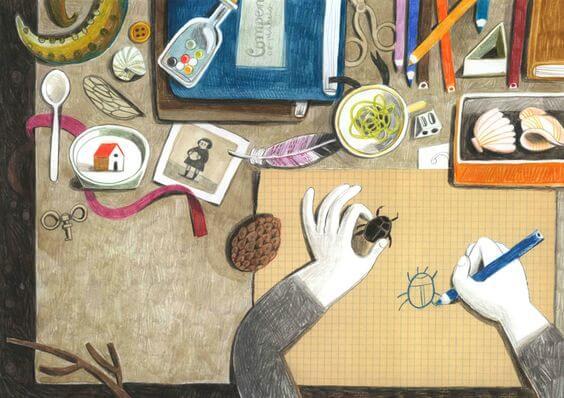 mies piirtää koppakuoriaista