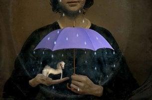 sateenvarjo ja minihevonen