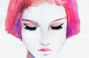 pinkit hiukset naisella