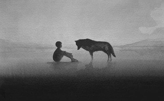 Poika ja susi sumussa