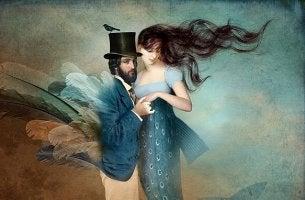 Hattupäinen mies ja nainen