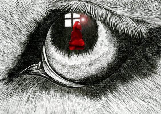punahilkan kuva suden silmässä