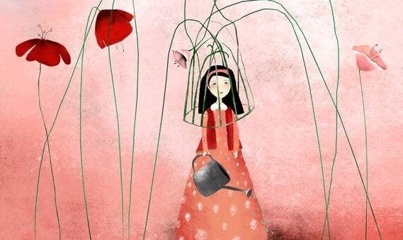 tyttö kukkien tekemässä häkissä
