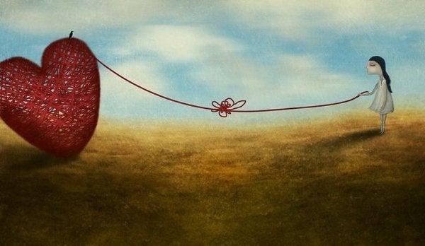 langasta tehty sydän tulee tytön perässä