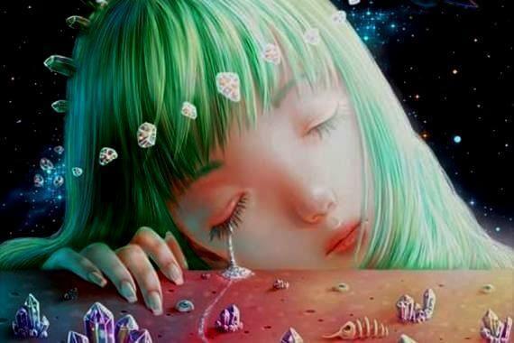 tyttö itkee timantteja