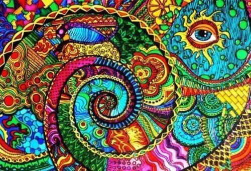 värikäs surrealistinen maalaus
