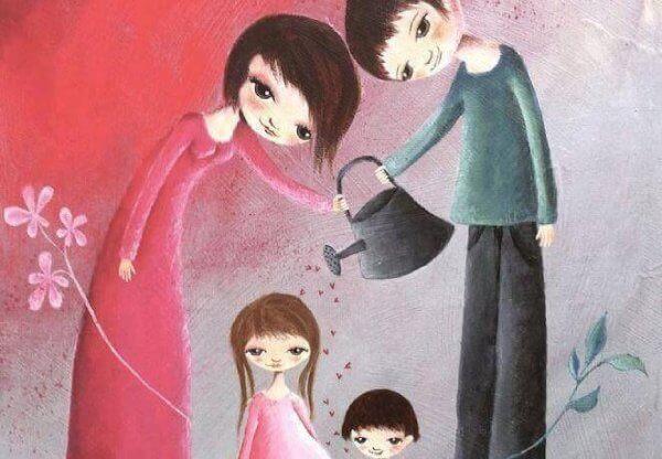 vanhemmat kasvattavat lapsiaan rakkaudella