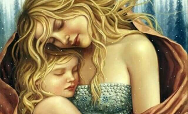 äiti ja tytär halaavat