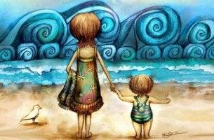 äiti ja lapsi rannalla menossa uimaan