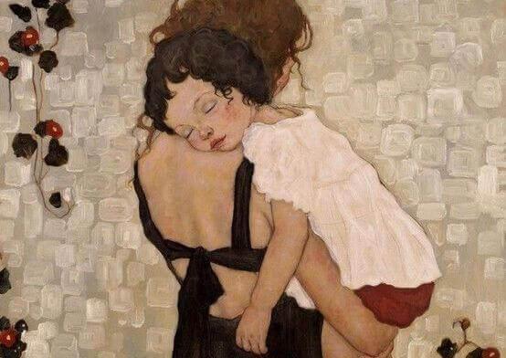 tyttö äitinsä olkapäällä