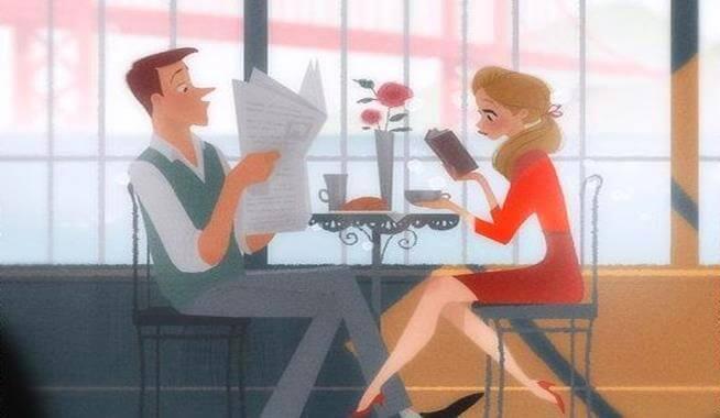 pariskunta kahvilla
