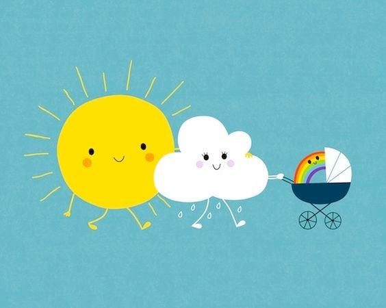 aurinkoisä ja pilviäiti saivat sateenkaarilapsen